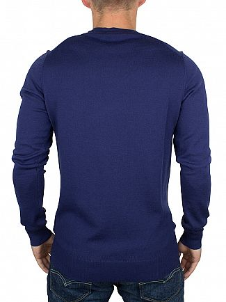 J Lindeberg Ink Blue Lyle True Merino Logo Knit