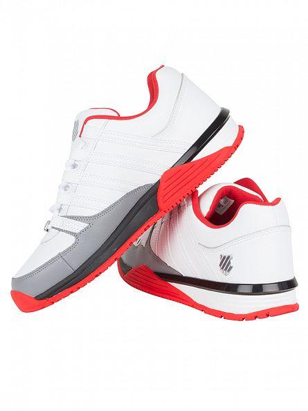 K-Swiss White/Fiery Red/Black Baxter Trainers