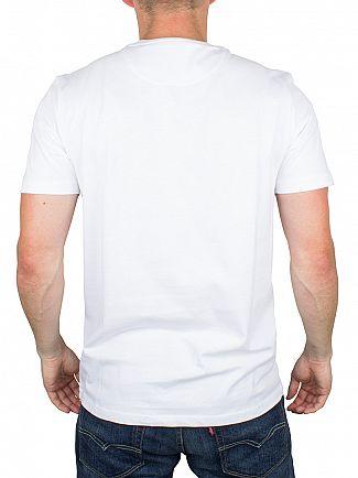 Lyle & Scott White Woven Check Contrast Pocket Logo T-Shirt