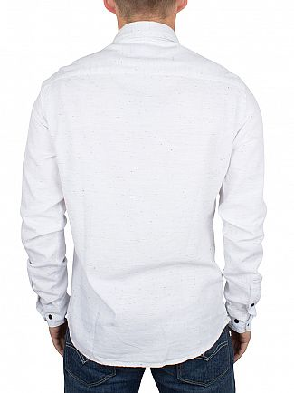 Only & Sons White Sejr Slim Fit Flecked Shirt