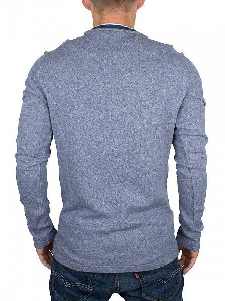 Original Penguin Blue Wing Teal Jaspe Terry Marled Logo Sweatshirt