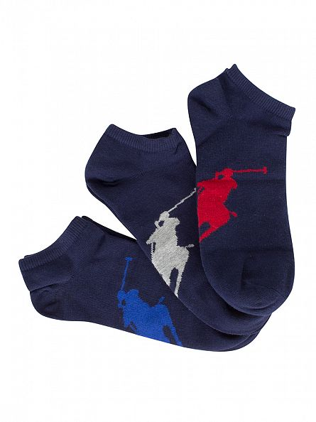 Polo Ralph Lauren Navy/Multi 3 Pack Logo Socks