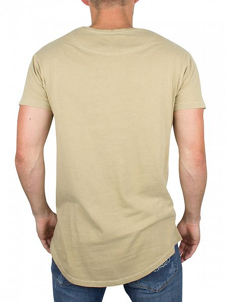 Sik Silk Sand Destroyed Curved Hem Logo T-Shirt