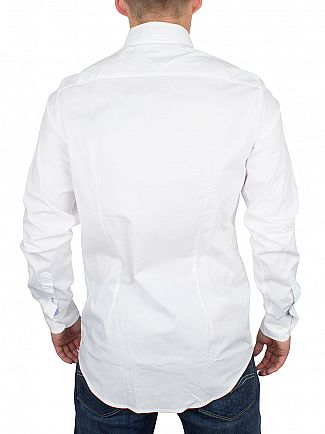 Tommy Hilfiger Classic White Slim Fit Stretch Poplin Logo Shirt