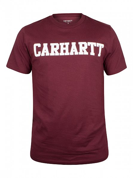 Carhartt WIP Chianti Red/White College Logo T-Shirt