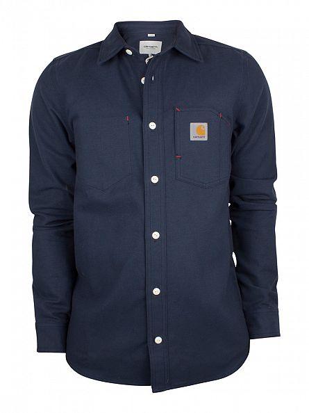 Carhartt WIP Navy Rigid Tony Stitched Pocket Overshirt