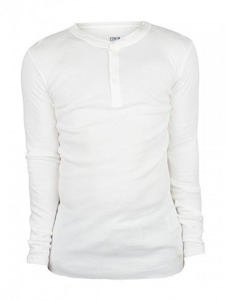 Edwin Off White Longsleeved Oarsman Henley T-Shirt