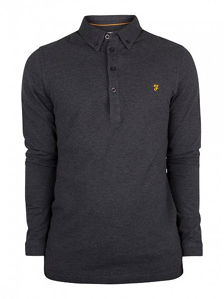 Farah Vintage Coal Marl Longsleeved Merriweather Logo Polo Shirt