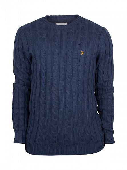 Farah Vintage Yale Blue Norfolk Logo Cable Knit