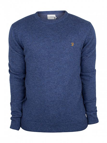 Farah Vintage Dusky Blue Rosecroft Logo Knit