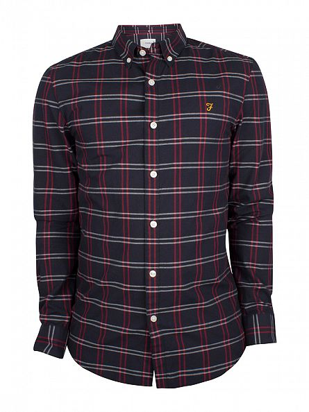 Farah Vintage True Navy Slim Fit Lynton Checked Logo Shirt