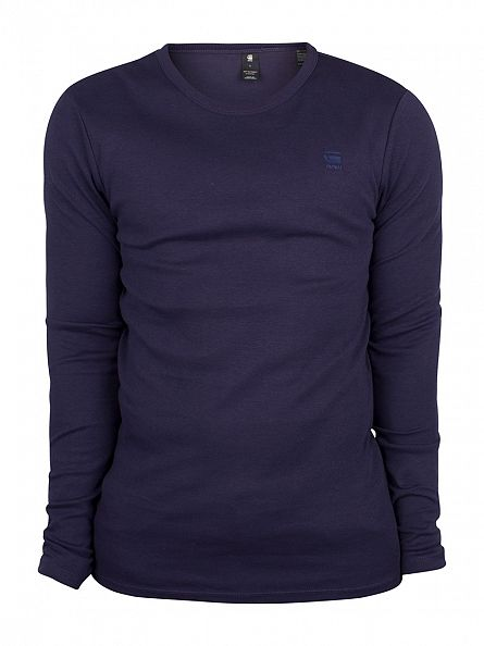 G-Star Blue Slim Fit Long Sleeved Logo T-Shirt