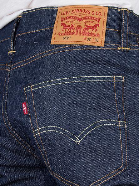 Levi's Dark Denim 512 Slim Taper Fit Broken Raw Jeans