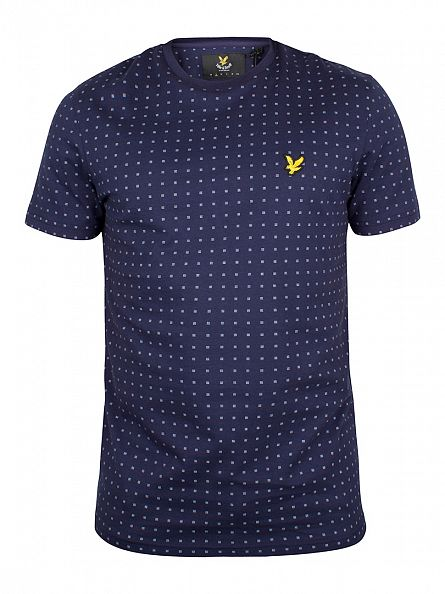 Lyle & Scott Navy All Over Dot Logo T-Shirt