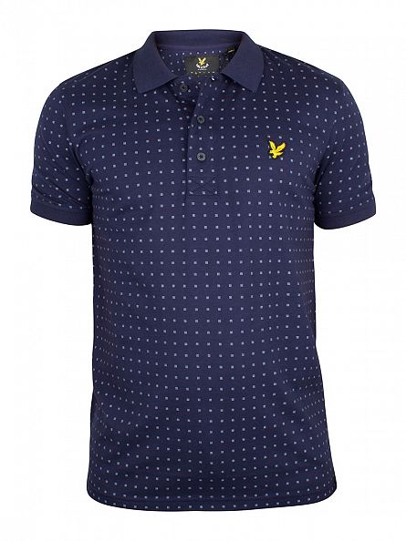 Lyle & Scott Navy All Over Square Spot Logo Polo Shirt