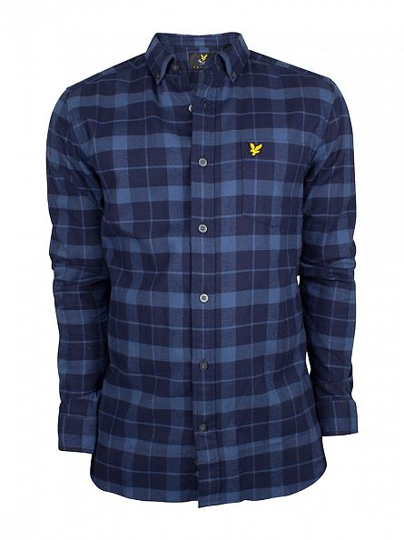 Lyle & Scott Navy Checked Flannel Logo Shirt