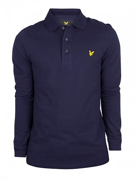 Lyle & Scott Navy Longsleeved Logo Polo Shirt