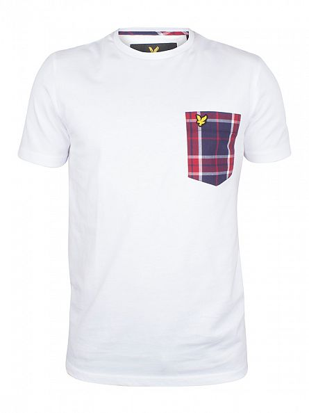 Lyle & Scott White Woven Check Contrast Pocket Logo T-Shirt