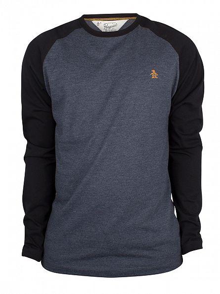 Original Penguin Dark Sapphire Melange Longsleeved Raglan Baseball T-Shirt