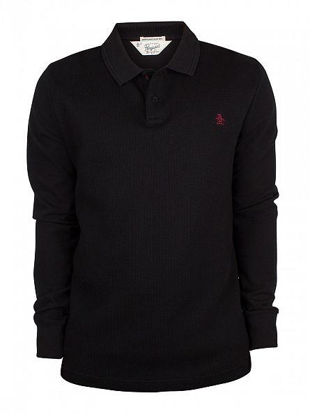 Original Penguin True Black Longsleeved Slim Fit Waffle Front Winston Logo Polo Shirt