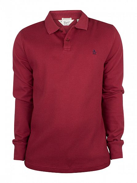 Original Penguin Pomegranate Longsleeved Slim Fit Waffle Front Winston Logo Polo Shirt