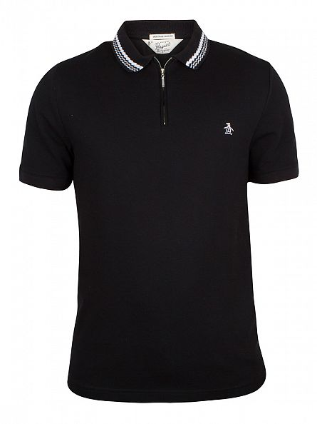 Original Penguin True Black Ottoman Pique Tipped Logo Polo Shirt