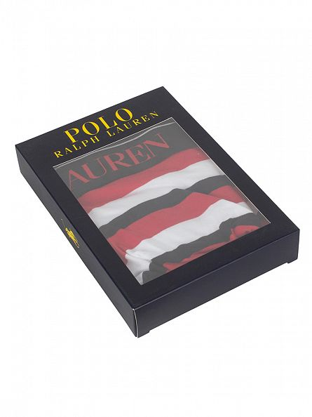 Polo Ralph Lauren White/Polo Black/Red Classic Pouch Stretch Cotton Striped Trunks