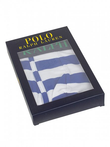 Polo Ralph Lauren Pacific Royal/White Stripe Classic Pouch Stretch Logo Trunks