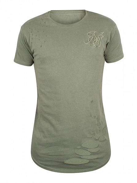Sik Silk Khaki Destroyed Curved Hem Logo T-Shirt