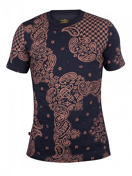 Vivienne Westwood Terracotta/Navy All Over Print Bandana T-Shirt