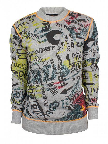 Vivienne Westwood Grey Marl Newspaper Rubbish All Over Print Sweatshirt