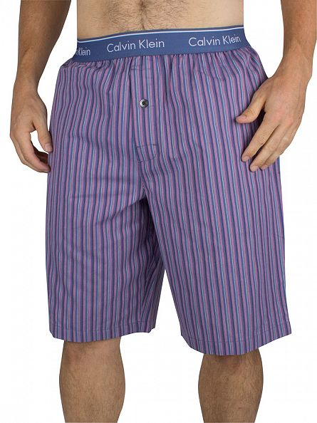 Calvin Klein Casper Blue Logo Waistband Striped Pyjama Shorts