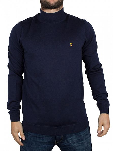Farah Vintage Yale Blue Fenton Textured Roll Neck Knit