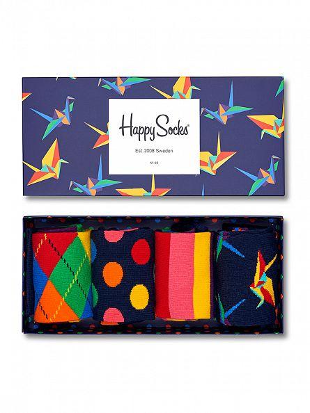 Happy Socks Blue 4 Pack Origami Socks Gift Box