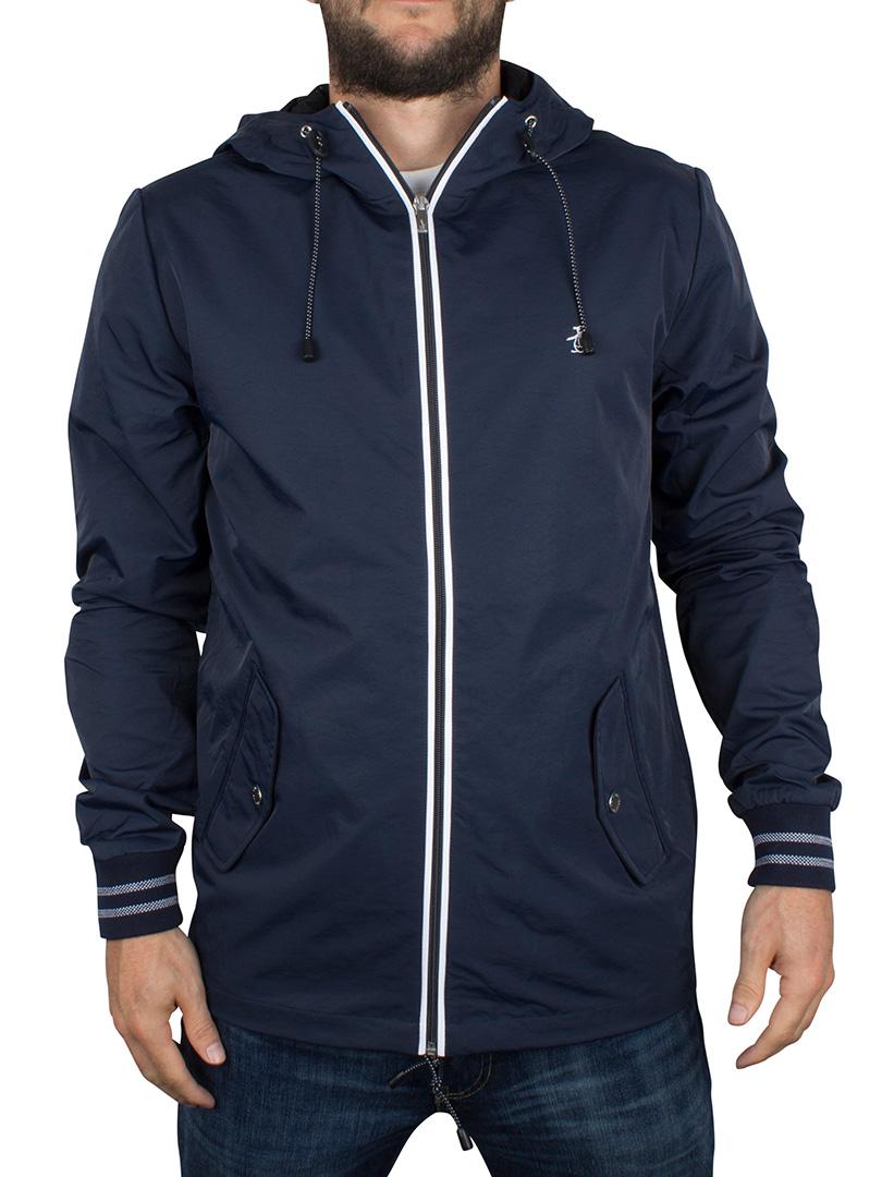 original penguin dark sapphire full zip logo hooded ratner jacket
