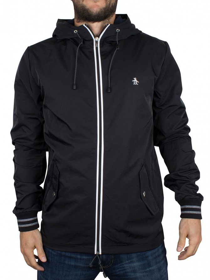 Original Penguin True Black Full Zip Logo Hooded Ratner Jacket
