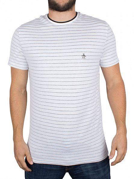 Original Penguin Bright White Stripe Jacquard Logo T-Shirt