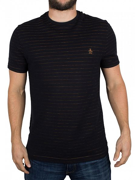 Original Penguin True Black Stripe Jacquard Logo T-Shirt