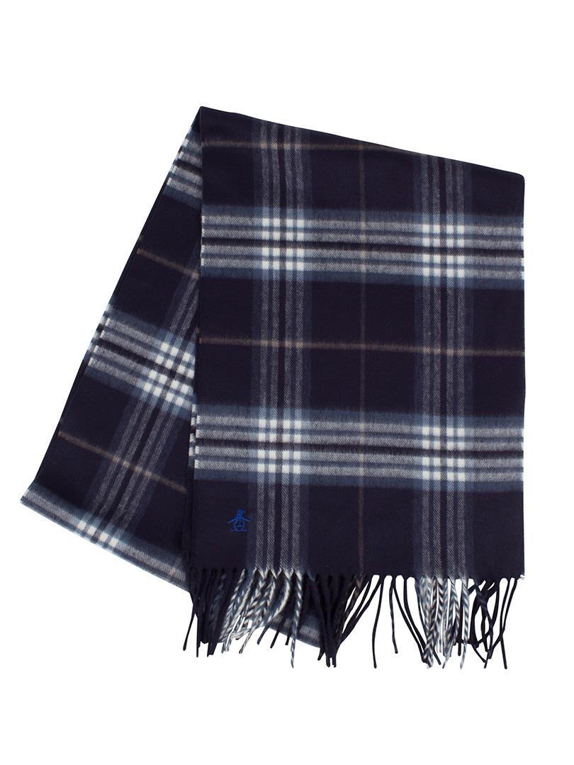 original penguin dark sapphire tartan look check logo scarf