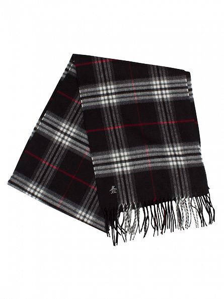 Original Penguin True Black Tartan Look Check Logo Scarf
