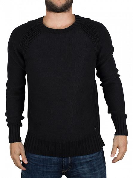 Replay Black Textured Logo Knit