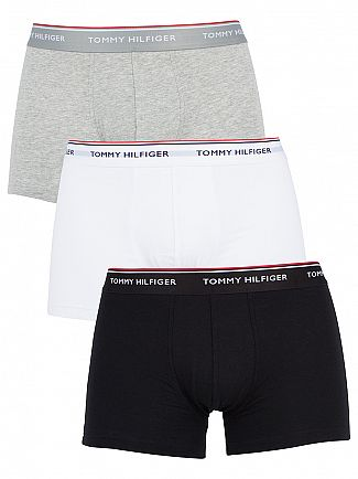 Tommy Hilfiger Black/Grey Heather/White 3 Pack Premium Essentials Trunks