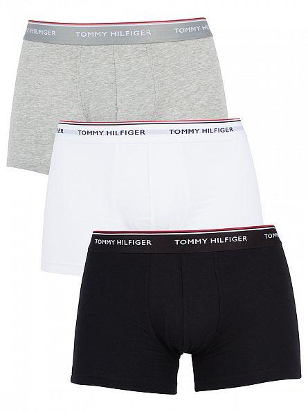 Tommy Hilfiger Black/Grey Heather/White 3 Pack Premium Essentials Trunks