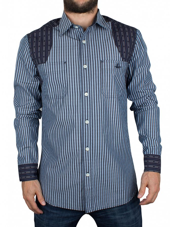 Vivienne Westwood Blue Classic Striped Pattern Shirt