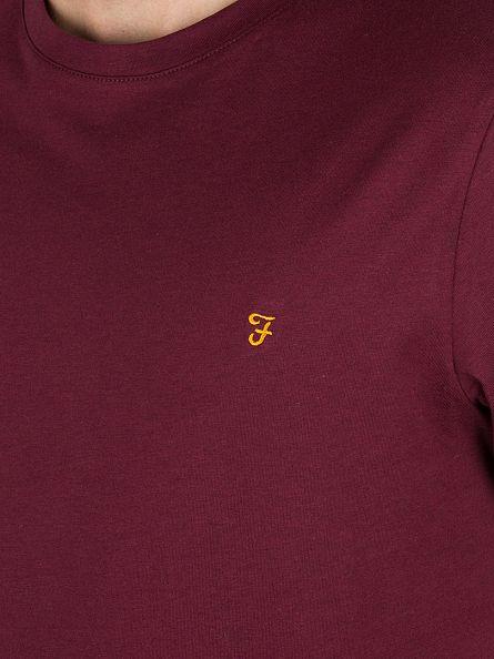 Farah Vintage Aged Port Marl Denny Marled Logo T-Shirt
