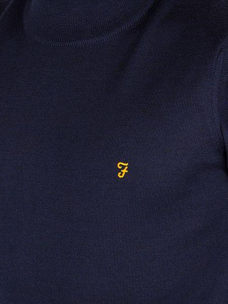 Farah Vintage Yale Blue Fenton Textured Roll Neck Knit