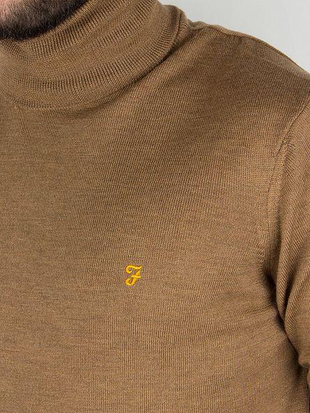 Farah Vintage Camel Gosforth Merino Logo Roll Neck Knit