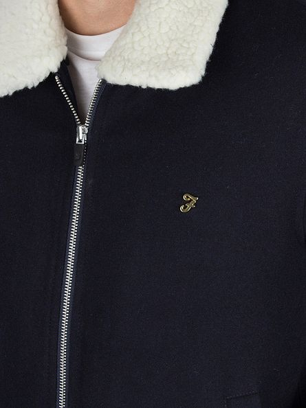 Farah Vintage True Navy Otley Zip Sherpa Collar Jacket