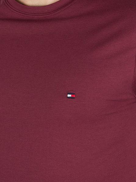Tommy Hilfiger Tawny Port New Stretch C-NK Logo T-Shirt
