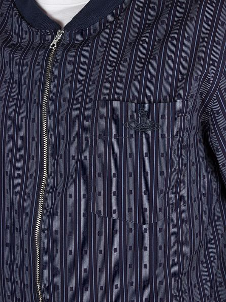 Vivienne Westwood Blue Bomber Striped Logo Over Jacket